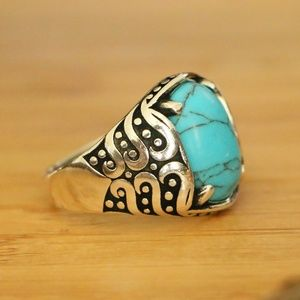 925 Sterling Silver Men's Rings Turquoise Stone